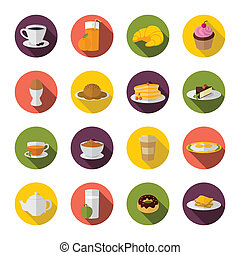 Breakfast icon flat - Breakfast food and drink icon with tea...