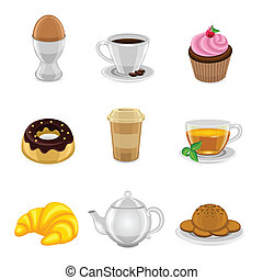 Breakfast icon set - Breakfast food and drink icon set with ...