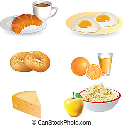 Breakfast icon set - cheese, coffee, croissant, eggs, bagels...