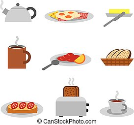 breakfast icon set