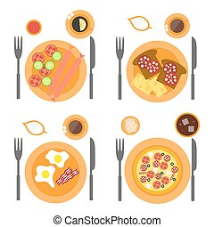Breakfast icons flat set with four options of food - sausages, omelette, pizza and toasts.