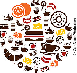 breakfast icons in circle
