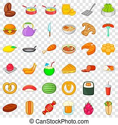 Breakfast icons set, cartoon style
