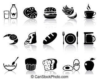 breakfast icons set - isolated black breakfast icons set...