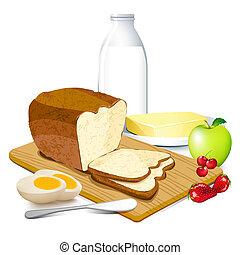 Breakfast - illustration of breakfast meal with bread, ...