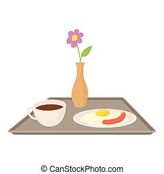 Breakfast in bed icon, cartoon style
