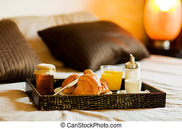 Breakfast in the bedroom - photo of tray with breakfast food...