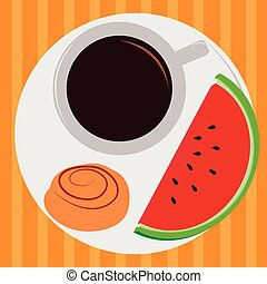 Breakfast - Isolated breakfast on a striped background. ...