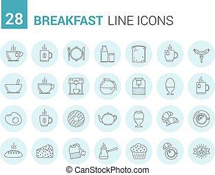 Breakfast Line Icons