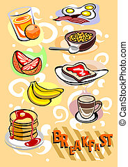 Breakfast Menu Different Food and Drinks Pictures