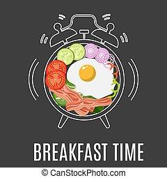 Fried eggs, bacon, tomato,