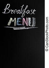 Breakfast menu with copy space on a blackboard
