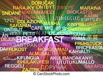 Breakfast multilanguage wordcloud background concept glowing
