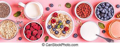 Breakfast, oatmeal with berries.
