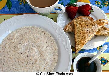 Breakfast of cream of wheat, toast, coffee and maple sirup