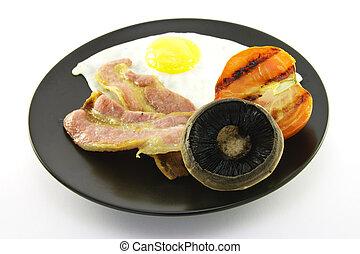 Breakfast on a Black Plate