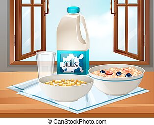 Breakfast on table with milk and cereal