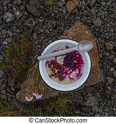 Breakfast on the nature - stillife with porrige and fresh berries