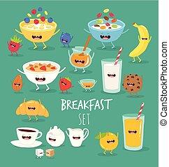 Breakfast orange juice plate flakes banana