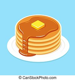 Buttermilk pancakes on plate with butter and honey or maple syrup. Traditional American breakfast food vector illustration.