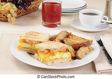 Breakfast panini with coffee