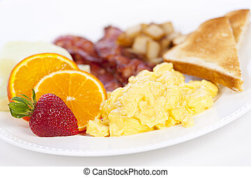 Breakfast plate - Delicious breakfast of scrambled eggs ...