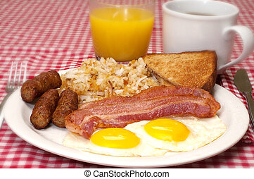 Breakfast plate with eggs sunny side up, bacon, link sausage...