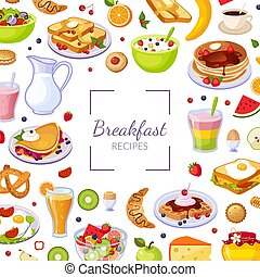 Breakfast Recipes Banner Template with Tasty Morning Meal Dishes Seamless Pattern Vector Illustration