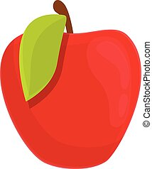 Breakfast red apple icon, cartoon style