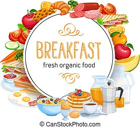 Breakfast round banner template menu food design