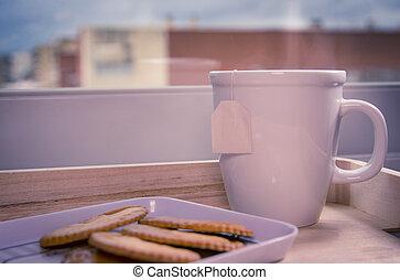 Breakfast scene. White blank mug with cookies