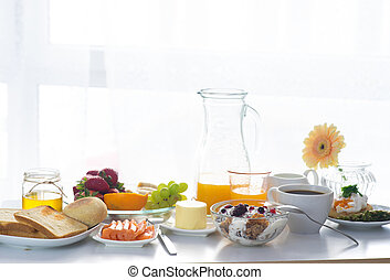 Breakfast served in front of the window