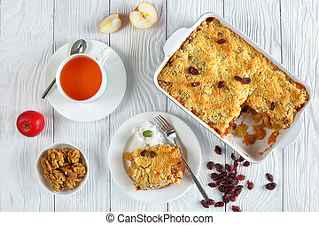 breakfast set - apple crumble and tea