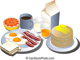 Complete breakfast, isometric-style illustration: bacon, eggs, bread, milk, pancakes, grapefruit, juice