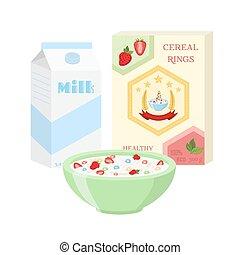 Breakfast set - milk, cereal, berries. Healthy food in flat style.