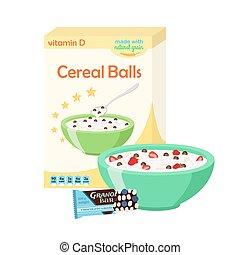 Breakfast set - milk, cereal, granola, berries. Healthy food in flat style.