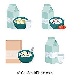 breakfast set of dry muesli in plates
