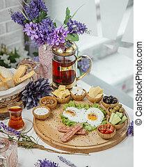 breakfast set on the table _