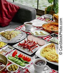 breakfast set on the table __