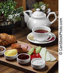 breakfast set on the table ____