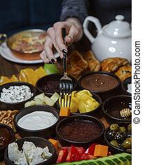 breakfast set on the table _____