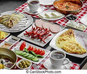 breakfast set on the table