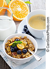 Breakfast set on the table with granola