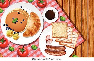 Breakfast set on wooden table