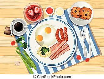 Breakfast set with eggs and bacon