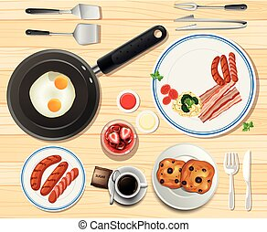 Breakfast set with eggs and sausages