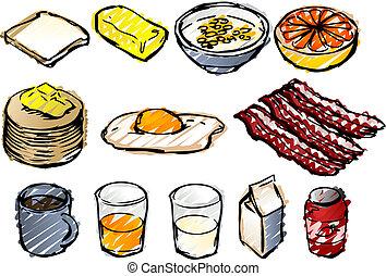 Breakfast sketch - Breaksfast clipart illustrations done in...