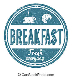 Breakfast stamp - Breakfast grunge rubber stamp on white...