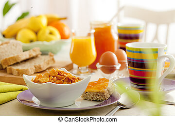 breakfast - Breakfast with juice, fruits, jam and eggs