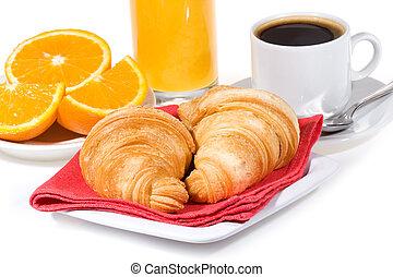 Breakfast with croissants, coffee, orange juice,